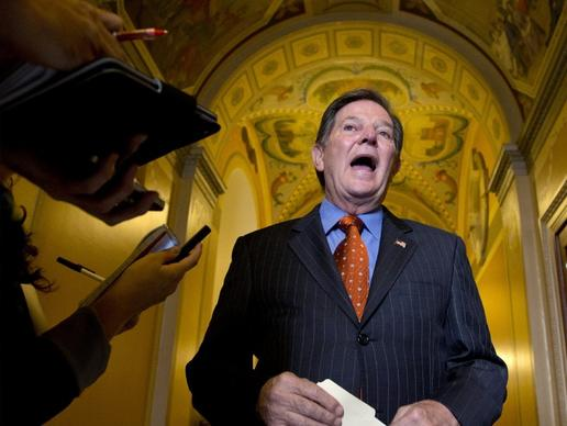 A Texas appeals court has thrown out Tom Delay's criminal conviction. The former House Majority Leader talks to reporters Thursday after a lunch meeting on Capitol Hill.