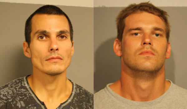 Vincent Tervel (left) and David Ryan were charged in connection with the theft of bronze vases from Rosehill Cemetery.