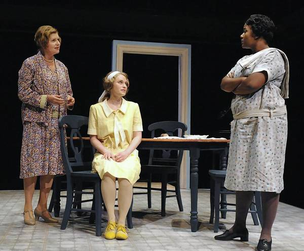 "Yvonne Erickson, Christine Demuth, Erica Lauren McLaughlin in ""A Young Lady of Property"" at Rep Stage."