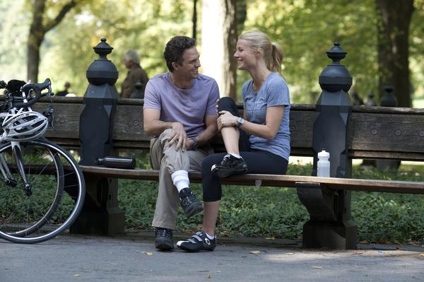"Mark Ruffalo, left, and Gwyneth Paltrow in a scene from ""Thanks For Sharing."""