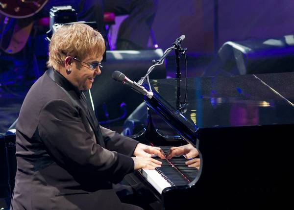 Elton John plays at the Webster Bank Arena in Bridgeport on Nov. 8,