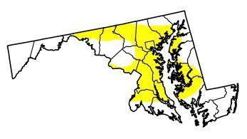 Abnormally dry conditions have developed in the yellow shaded areas of Maryland.