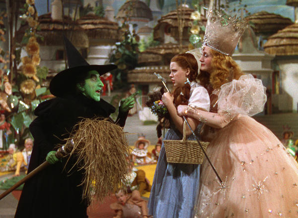 The Wicked Witch (Margaret Hamilton), Dorothy (Judy Garland) and the good witch Glinda (Billie Burke) in a stunning 3-D version of The Wizard of Oz.