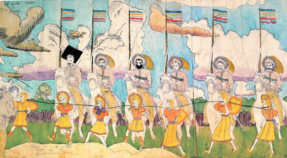 """At Jullo Callio via Norma They are captured by the Glandelinians"" by Henry Darger (mid-20th century)"