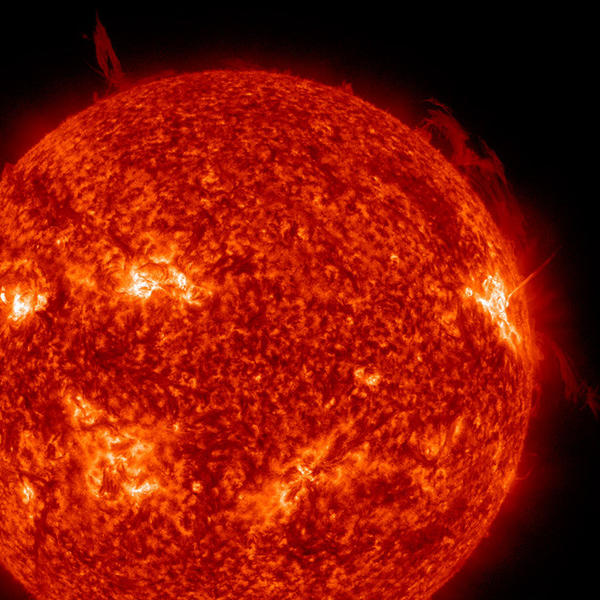 An image of the sun captured by NASA's Solar Dynamics Observatory. As our host star ages and expands, life on Earth will cease to exist.