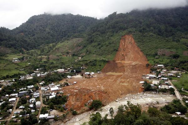 An aerial view of the landslide that buried part of La Pintada village, in Guerrero state, Mexico, after heavy rain hit the area.