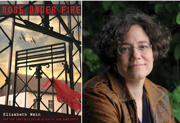 "The cover of ""Rose Under Fire"" and author Elizabeth Wein."