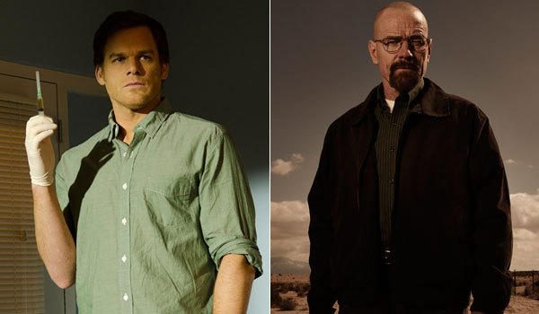 "Michael C. Hall in ""Dexter,"" left, and Bryan Cranston as Walter White in ""Breaking Bad."" Both shows air Sunday at 9 p.m."