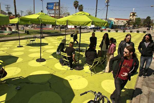 "Sunset Triangle Plaza, a pocket park in Silver Lake in 2012. The Pasadena Playhouse District Assn. will turn two parking spaces on Colorado Boulevard into ""parklets"" Friday during PARK(ing) Day."