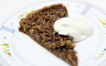 Maple pecan tart with creme fraiche