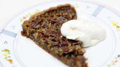 Maple pecan tart with creme fraiche