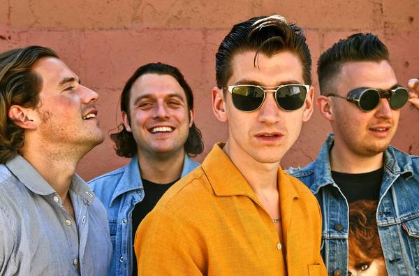 Jamie Cook, left, Nick O'Malley, Alex Turner and Matt Helders of the English rock band Arctic Monkeys on Gower Street in Hollywood.