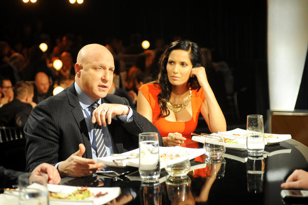 "Tom Colicchio and Padma Lakshmi of ""Top Chef."""