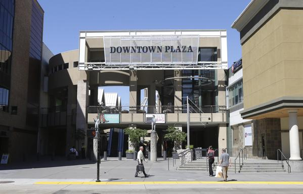 Downtown Plaza in Sacramento is the proposed location for a new arena for the NBA's Kings.