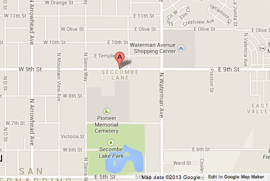 Map shows the location of Pioneer Memorial Cemetery in San Bernardino, where a man was found stabbed to death.