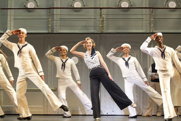 "Ryan Steer, Bobby Pestka, Rachel York, Jeremy Benton and Kristopher Thompson-Bolden in ""Anything Goes,"" playing now at Segerstrom Center for the Arts."
