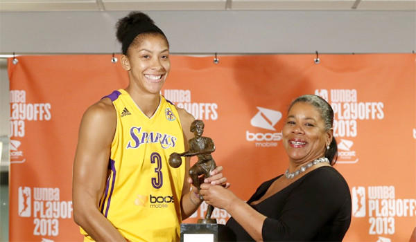 WNBA President Laurel J. Richie, right, presents the Sparks' Candace Parker, left, with the WNBA Most Valuable Player award