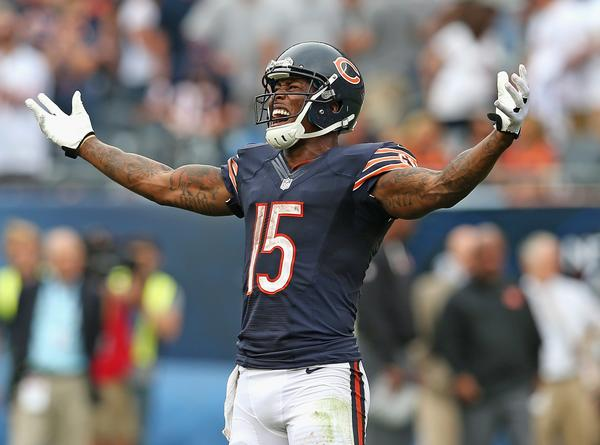 Brandon Marshall celebrates the win over the Bengals in the final seconds at Soldier Field.