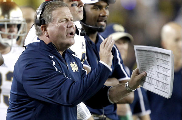 Notre Dame Coach Brian Kelly and his offensive unit will need to find a way to move the ball against a solid Michigan State defense when the teams meet on Saturday.