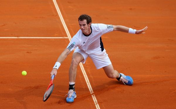 Andy Murray in action against Borna Coric the Davis Cup World Group playoff tie.