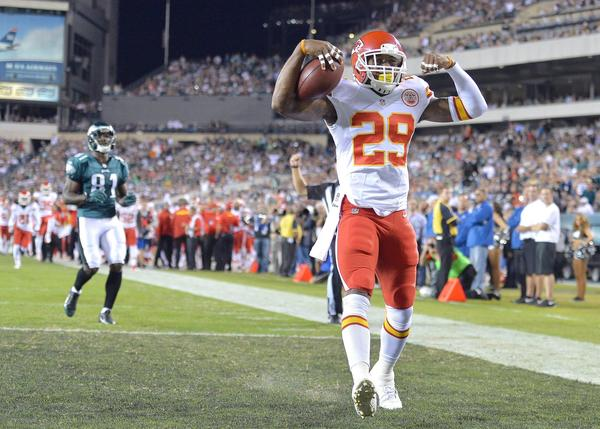 Chiefs strong safety Eric Berry intercepts a pass intended for Eagles tight end Brent Celek and returns it for a touchdown in the first quarter at Lincoln Financial Field.