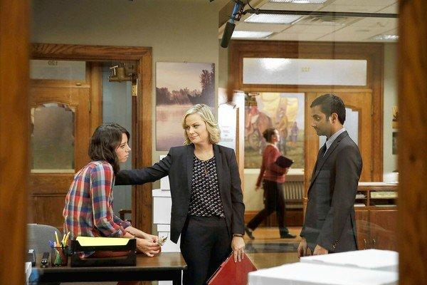 "Aubrey Plaza, left, Amy Poehler and Aziz Ansari in ""Parks and Recreation."""