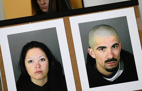 Photos of Jason Schumann, right, and his girlfriend Elizabeth Ibarra are displayed by the LAPD in 2012. Schumann was convicted Thursday of murdering Francisco Rodriguez Jr., whom he apparently believed was having a relationship with Ibarra.