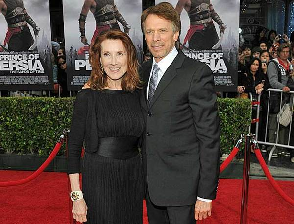 "Jerry Bruckheimer and wife Linda arrive at the premiere of ""Prince of Persia: The Sands of Time"" held at Grauman's Chinese Theatre on May 17, 2010, in Hollywood. The producer left his hand and footprints in cement at the theater as ""Persia"" premiered in conjunction with a celebration and screening of several Bruckheimer films."