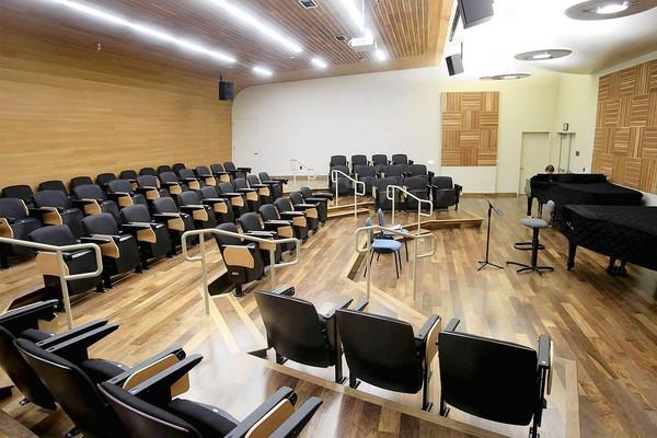 Orange Coast College's music department has undergone a $4.8-million upgrade. Pictured here is a recital room fitted with new maple wood acoustic panels.