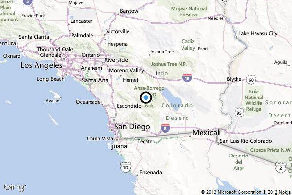 A map showing the location of the epicenter of Thursday evening's quake near Borrego Springs, California.