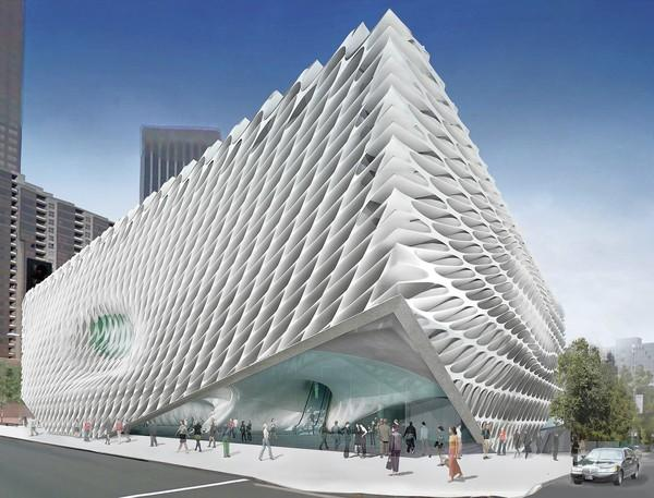 An artist's rendering of the Broad museum on Grand Avenue.