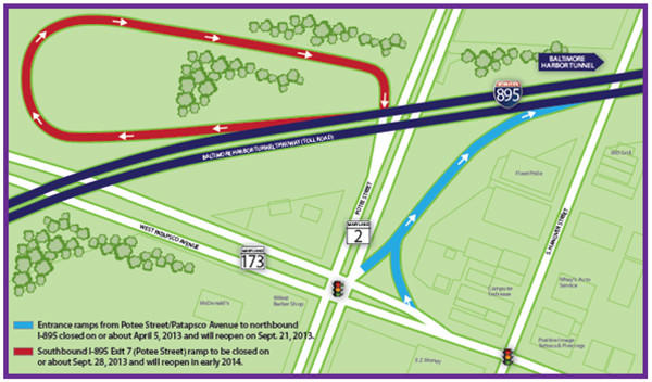 Blue indicates entrance ramps from Potee Street/Patapsco Avenue to northbound I-895 that will reopen Sept. 21. Red indicates the southbound I-895 Exit 7 (Potee Street) ramp that will be closed through early 2014.
