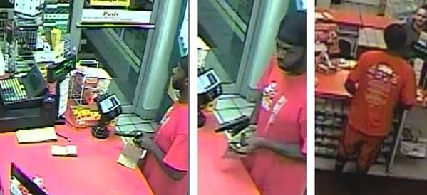 Surveillance images of a man who police say robbed a Fort Lauderdale gas station at gunpoint on Sept. 15, 2013.