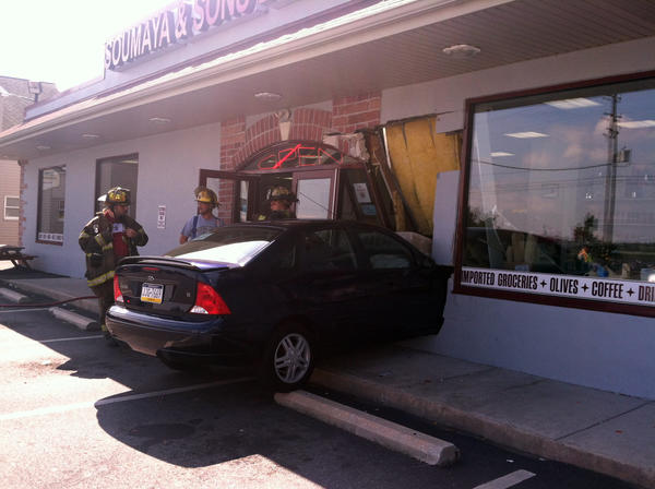 A car crashed into Soumaya & Sons Bakery and Deli in the 200 block of Fullerton Avenue on Friday just before noon. No injuries were reported.