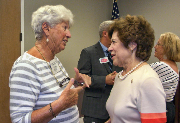 Clarice Pollock of Hallandale Beach (left) talks with gubernatorial candidate and former Florida state Senator Nan Rich of Weston (right) on Sept. 18 after Rich spoke to the Democratic Women's Club of Northeast Broward, which met in Pompano Beach. (Anthony Man/Sun Sentinel)