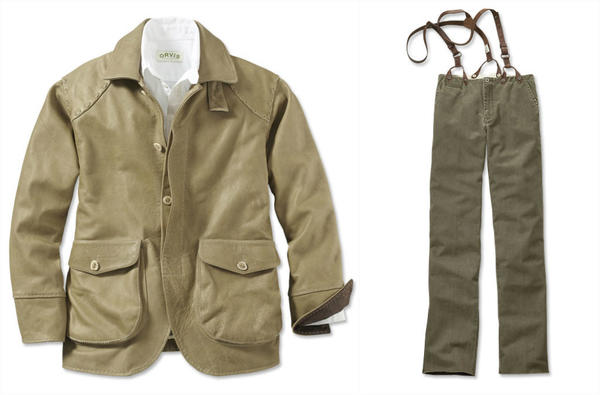 A leather jacket (left, $850) and vintage-inspired miner's pants (right, $139) are two of the items in Orvis' new Theodore Roosevelt collection that pledges 5% of sales to the Theodore Roosevelt Conservation Partnership.