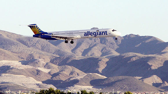 An Allegiant Air jet comes in for a landing at McCarran International Airport in Las Vegas.