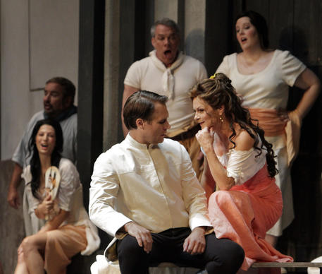 "Patricia Bardon as Carmen and Brandon Jovanovich as Don Jose, foreground, with the cast of ""Carmen"" in a dress rehearsal of the Los Angeles Opera's season opener at the Dorothy Chandler Pavilion."