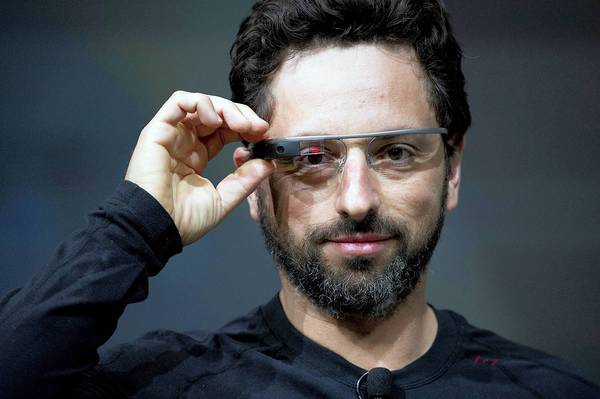 Sergey Brin, co-founder of Google Inc., wears Project Glass internet glasses.