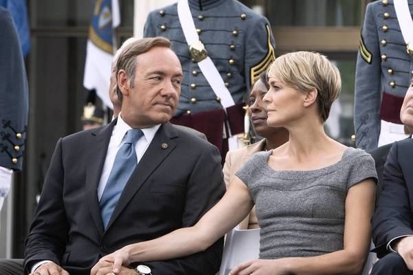 "Kevin Spacey, left, Robin Wright and Michael Kelly in ""House of Cards."""