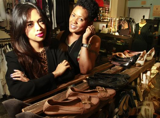 Vintage and modern mix it up at Buttons & Bows, the downtown L.A. boutique by Monique Aquino, left, and Karen Marley.