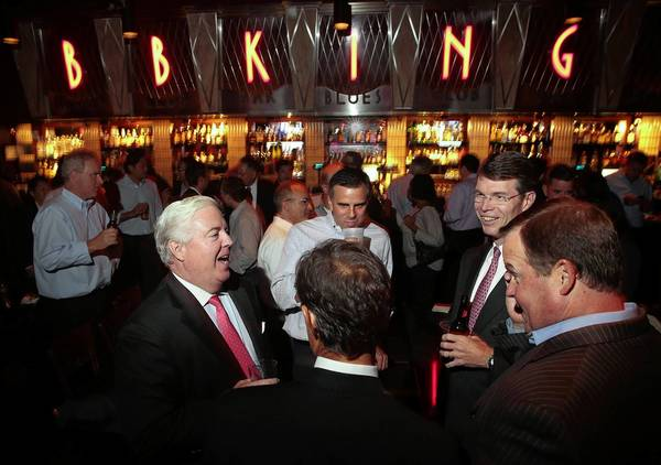 Former employees of Lehman Bros. gather for a reunion at B.B. King Blues Club & Grill in Manhattan.