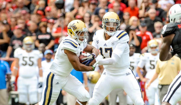 UCLA quarterback Brett Hundley has passed for 558 yards and ran for another 124 while throwing five touchdown passes and scoring two rushing through two games for the Bruins.