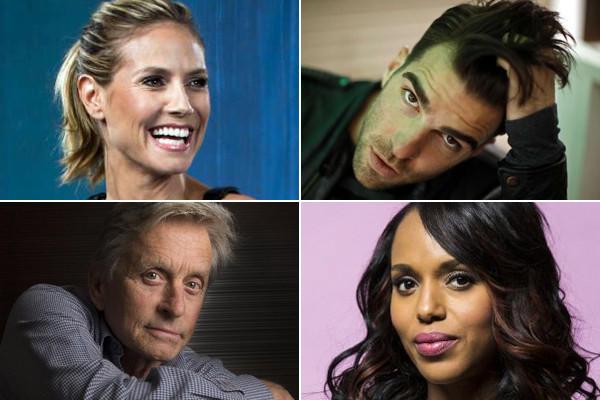 Emmy nominees, from left, Heidi Klum, Zachary Quinto, Michael Douglas and Kerry Washington.