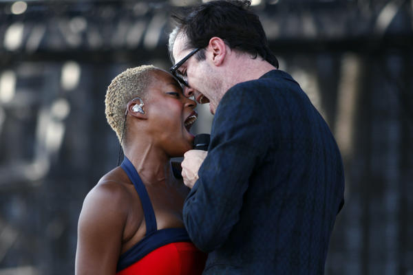 Michael Fitzpatrick and Noelle Scaggs, of Fitz and the Tantrums, perform at the Coachella Valley Music and Arts Festival, held at the Empire Polo Club in Indio.