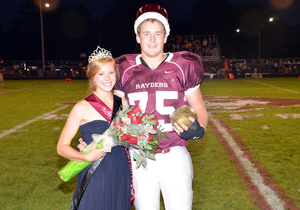 Caroline Boss and Andrew Mitchell were named the 2013 Charlevoix High School Homecoming queen and king at halftime of the Rayders' game against Elk Rapids at Kipke Field Friday, Sept. 20.
