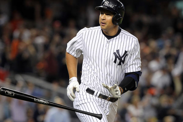 The Yankees' Alex Rodriguez hits a grand slam during the seventh inning.