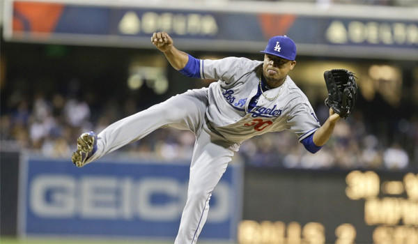 Dodgers right-hander Edinson Volquez gave up two runs, one earned, on five hits through 6 1/3 innings in a loss to his former team the San Diego Padres.