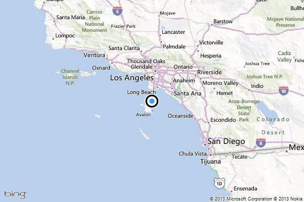 A map showing the location of the epicenter of Saturday morning's quake near Avalon, California.