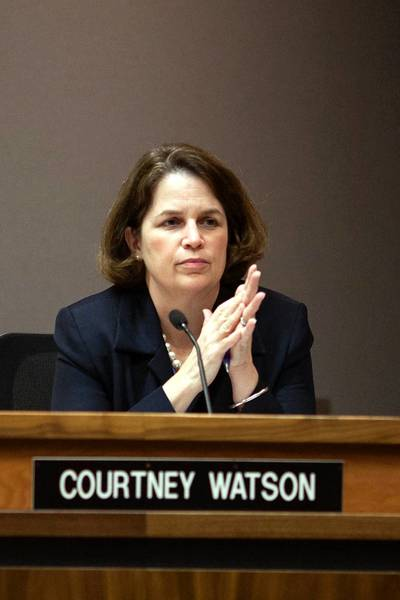 County Council member Courtney Watson listens during a zoning hearing at the George Howard Building, July 15.